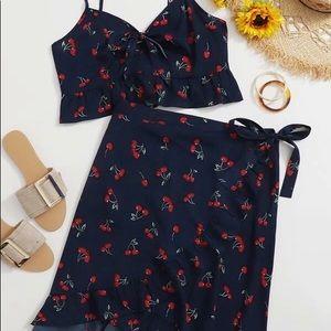 SHEIN Plus Cherry Crop & Skirt Set